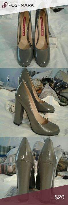 """Chinese Laundry high heel pumps NWOT  Grey pumps. Chunky high heel gives stability. New..never worn...are a few small  dings on heel and outer aspect of toe box..ask me for close up pic.'s  if TRULY interested! Leather lining, balance man-made. 4"""" heel Chinese Laundry Shoes Heels"""