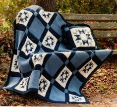 Country Star pattern - done in Tunisian stitch from graph.  Assembled in strips.