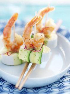 Sushi au Caprice des Dieux, courgettes et crevettes grillées, une idée apéritive douce et crémeuse