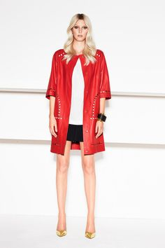 Escada red laser cut trimmed short sleeved leather coat