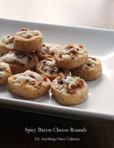 Spicy Bacon Cheese Rounds are like a baked cracker made with cereal, cheese and of course there is bacon! Recipes Appetizers And Snacks, Yummy Appetizers, Snack Recipes, Cooking Recipes, Dinner Recipes, Party Recipes, Party Snacks, Desserts, Best Superbowl Food