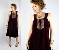 SALE Velvet Dress Vintage 60s Burgundy Velvet & Floral