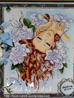 I found this beautiful image by Aurora Wings on the web. It's called GardeniaDS  I used the following copics:      Skin: E11, E21, E00, E000, R20, R11     Lips: R22, R2o, 0     Hair: E25, E31, E50     Gardenia: C3, C1, 0     Leaves: YG67, Yg63     I used liquid pearls silver for the pearls.
