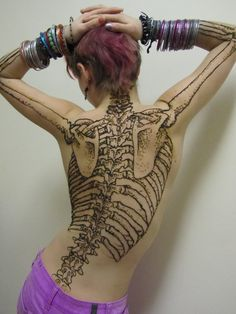 """Skeleton Henna by Izzi Lawlor (izzi-poems, USA) """"henna done on my friend Robin for a Drawing class project. Thanks Robin!"""" {henna, 2011}"""