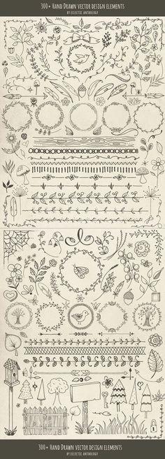 """Over 300 """"Woodland Whimsy"""" Hand Drawn Vector Design Elements! Flourishes, curls,… Over 300 """"Woodland Whimsy"""" Hand Drawn Vector Design Elements! Drawing Hands, Bullet Journal Inspiration, Vector Design, Web Design, Graphic Design, Layout Design, Flat Design, Modern Design, Doodle Art"""