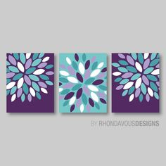 Home Wall Art Bedroom Nursery Flower Wall Art Purple Blue Dahlia Flower by Source by 3 Piece Canvas Art, Diy Canvas Art, Diy Wall Art, Home Wall Art, Diy Art, Wall Decor, Bath Art, Bathroom Art, Bathroom Ideas