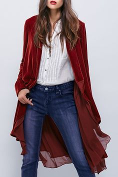 Swingy Velvet Long Sleeve Coat Product Description Clothes Type: Trench  Material: Polyester  Material Type: Chiffon  Type: Wide-waisted  Clothing Length: Long  Sleeves Length: Full  Collar: Collarless  Pattern Type: Solid  Decoration: Adjustable Waist