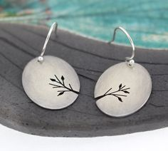 Leafy Branches sterling silver hand pierced oval earrings by silentgoddess on Etsy Jewelry Art, Jewelry Design, Unique Jewelry, Jewellery, Etsy Earrings, Earrings Handmade, Hand Piercing, Beautiful Earrings, How To Draw Hands