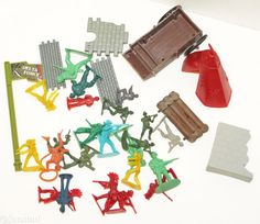 """4.4OZ MIX LOT MILITARY ARMY MEN COWBOY INDIANS FIREFIGHTER PLASTIC TOY 2"""" FIGURE #Unbranded"""