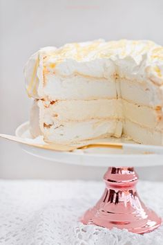 Lemon Meringue Cake, Meringue Pavlova, Lemon Curd, Vanilla Cake, Polish Recipes, Polish Food, Diy Cake, Pumpkin Spice Latte, Food Cakes