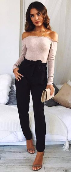 Winter Outfits Gray Off Shoulder Long Sleeved Shirt And Black Pants Outfit