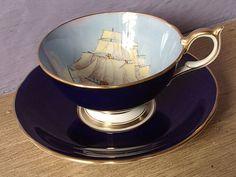 Antique Aynsley sailing ship tea cup set blue tea by ShoponSherman Tea Cup Set, My Cup Of Tea, Cup And Saucer Set, Tea Cup Saucer, English Tea Cups, Bone China Tea Cups, Tea Service, Vintage Tea, Tea Time