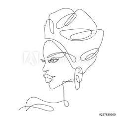 Outline Art, Outline Drawings, Art Drawings, Face Line Drawing, Girl Face Drawing, One Line Tattoo, Line Art Tattoos, Continuous Line Tattoo, Line Sketch