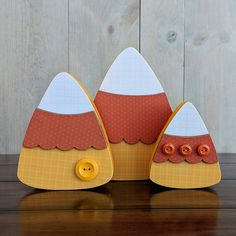 Add sweet decorations to your Halloween party or fall home decor with the Candy Corn Trio Wood Crafts by Foundations Decor. The package includes an unfinished Fall Wood Crafts, Halloween Wood Crafts, Spring Crafts, Holiday Crafts, Thanksgiving Wood Crafts, Easy Fall Crafts, Kids Thanksgiving, Thanksgiving Tablescapes, Thanksgiving Appetizers