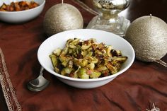 Stress-Free Thanksgiving: Roasted Brussels Sprouts with Onions, Bacon and Cranberries - Sarah's Cucina Bella : Sarah's Cucina Bella
