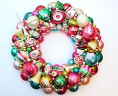 Vintage Shiny Brite Glass Tree Topper Ornament Wreath