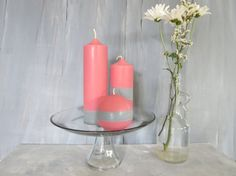 Pink and silver soy pillar candles a trio of by CandlesbyDeganit, $39.00