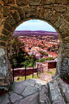Landstuhl Germany: The view from a Burg Nanstein Castle's archway.