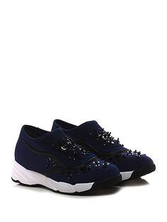 Uma parker - Sneakers - Donna - Sneaker in tessuto elasticizzato e retina con multi pietre e strass su tomaia. Inserti in pvc, suola in gomma, tacco 45, platform 25 con battuta 20. - NOTTE - € 119.00