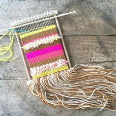 How to weave a tapestry on this small loom (plus instructions to make your own loom). Love this.