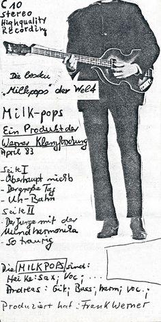 "Milk-pops  ""Die besten""Milkpops"" der Welt""  Tonkassette, Cover 1983  Andreas Henning, Heike Hickmann  Design© Andreas Henning, 1983"