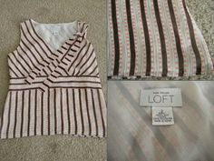 "Ann Taylor Loft **100% SILK** brown & pink stripe sleeveless tank w/ tie Size: 2 - Find it by going to www.LoyalRoyaltyPro.com, click on the ""Miss Anthropy's Boutique"" link on the left sidebar and click on one of the hyperlinks that say ""Miss Anthropy's Boutique"" to be taken to all of my eBay auctions including the one below! Don't forget to check out the other content on www.LoyalRoyaltyPro.com as well!"