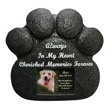 Paw-Print Pet Memorial Stone...Check it at http://www.hellosausage.com/pet-grave-markers/