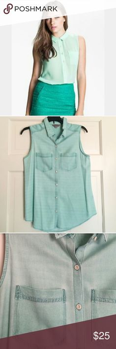 Nordstrom Rubbish Mint Green Sleeveless Top ✳Nordstrom Rubbish brand ✳Sleeveless Chambray Button Down top ✳Mint Green ✳2 Front Pockets ✳Collared neck ✳Loose fitting ✳Size Small ✳Very soft and comfortable ✳Slight mark on bottom back (last pic) ✳In great condition. Gently worn a few times. ✳Perfect with jeans and chuck taylors for casual vibe or skirt and heels for a night out!  Stock photo for styling purposes only. Not same top.  ☑OFFERS WELCOME☑ ☑BUNDLE and SAVE☑ Rubbish Tops Button Down…