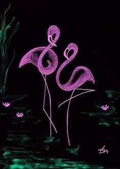 párosan szép ... Black Paper Drawing, Flamingo Art, Art Abstrait, Pastel Art, Chalkboard Art, Kirigami, Simple Art, Minimalist Art, String Art