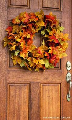 Quick and easy 10 minute fall wreath using leaf garlands