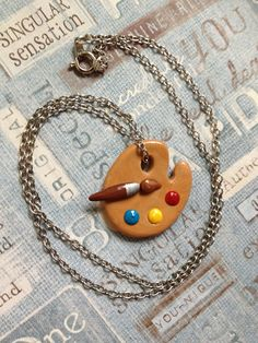 Polymer Clay Painter's Palate Pendant by PasticheAccessories, $16.00
