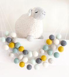 Tranquil Mint Felt Ball Garland- Mint Decor- Trendy nursery colors- boy nursery decor- Mint, mustard, yellow, gray, Ivory