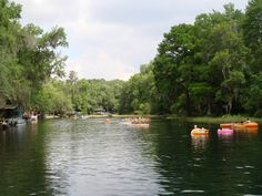 Tube, kayak or canoe down the Rainbow River in Florida. Clear water, beautiful for summer planning.