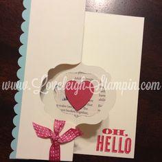 Dana Lewis Independent Stampin' Up! Demonstrator Loveleigh Stampin' Labels Framelits Oh, Hello Flip Card