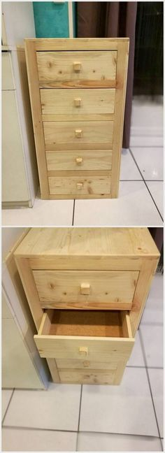 Next on our list of the wood pallet recycling projects, we would talk about the creative designed mini pallet chest with drawers in it. This is a horizontal designed piece of the wood pallet mini chest that is comprised of various drawer portions. You can make it place in your living room as the storage cabinet.