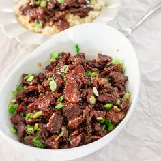 PF Chang's Mongolian Beef Copycat Recipe - I don't see why this couldn't be made with mushrooms and/or eggplant! It's the sauce, really....