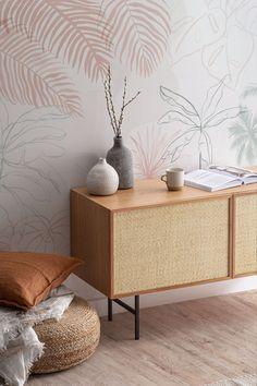Tropical Wallpaper, Beach Wallpaper, Minimalist Wallpaper, Bespoke Design, Leaf Design, Paper Texture, Pink And Green, Wall Murals, Colours