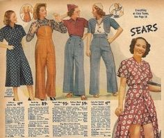 1938 culotte set, overalls, and pants. Sport clothes, play clothes, casual summer clothing.