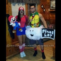 Homemade Mario and Lakitu (the Final Lap Guy) Couple Costume... Coolest Halloween Costume Contest