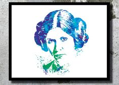 Princess Leia Star Wars Watercolor Art Print Star Wars Poster Star Wars gift Princess Leia painting Star wars room decor movie art fan art