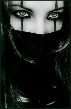 just eyes, dark lined