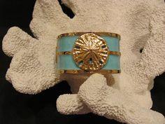 Gold and Turquoise Sand Dollar Nautical Bangle by savannahjacks, $45.00