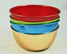 Four 1950s Aluminum Cereal Bowls - Kitchen Decor - Kitchen Bowls by annswhimsey for $20.00