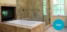 Fireplace,  bathtub, and stand-up shower