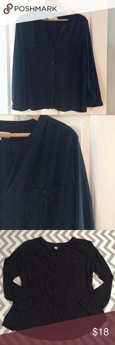 LOFT Utility Blouse Black semi-sheer button down utility blouse. Ruching at shoulders, breast pockets, button cuffs. Fifth picture shows amount of sheerness. Bust is 23.5, length is 27. EUC. LOFT Tops Blouses