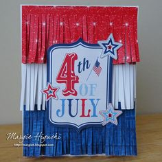 Fringe Fun Fourth of July card by @ilscraps using Scrapbook Adhesives by 3L Extreme Double-Sided Tape 1/8″ Permanent, 3D Foam Squares & Dual Tip Glue Pen (HomeHobby) featuring @photoplaypaper Main St. Parade Collection by @samantha_walker