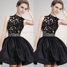 AQL2462 High Neck Lace Applique Crystals Backless Hollow Back Little Black Short Mini Sexy Cocktail Dresses