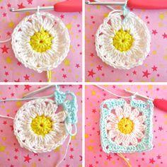 Color 'n Cream: Flower Square Tutorial VI, crochet tutorial. tutorial, crochet, granny square