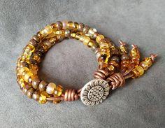 Sunflower Jewelry, Sunflower Beaded Bracelet, Sunflower Seed Bead Bracelet, Boho Wrap Bracelet, Womens Bracelet, Christmas Gift by KarenMSmithDesigns on Etsy