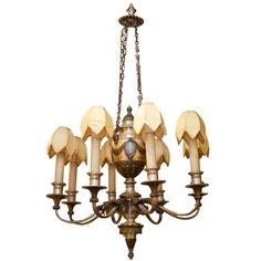 Silvered and Gilt Metal Neoclassical Style Chandelier